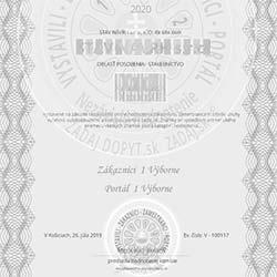 Zadanie dopytu - certifikát, hodnotenie